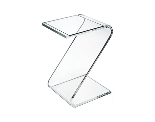 Zee Table with Glass Inset - Acrylic Side Tables - Spectrum West
